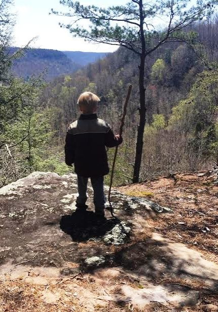 Our grandson on the bluff.